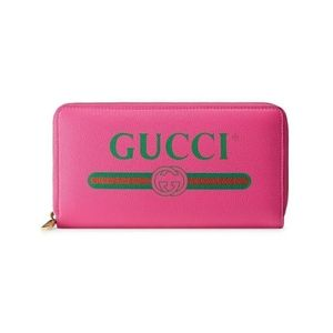 Gucci Logo InterlockG Leather Zip Wallet
